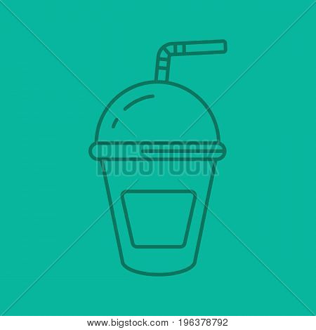 Refreshing soda drink color linear icon. Lemonade paper cup with straw. Thin line outline symbols on color background. Vector illustration