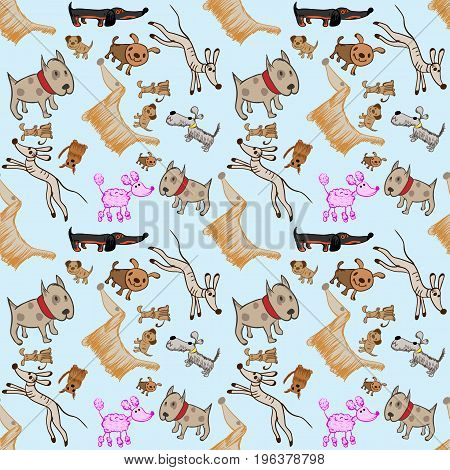 Vector pattern of dogs in the style of children's drawing