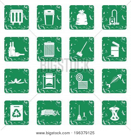 Garbage thing icons set in grunge style green isolated vector illustration