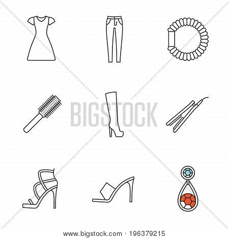 Women's accessories linear icons set. Sun frock, skinny jeans, hair scrunchy, straightener and brush, high heel boot and shoes, earring. Thin line contour symbols. Isolated vector outline illustration