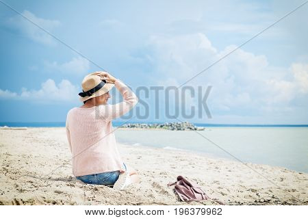 Woman Posing Against The Sea