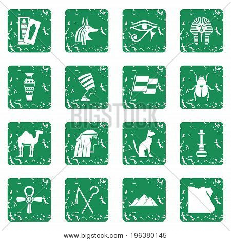 Egypt travel items icons set in grunge style green isolated vector illustration