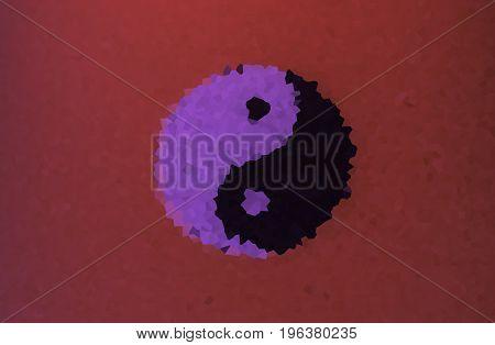 Yin-Yang symbol illustration on red background .