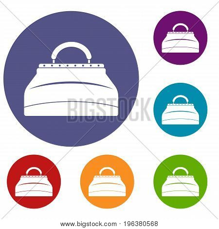 Carpetbag icons set in flat circle red, blue and green color for web