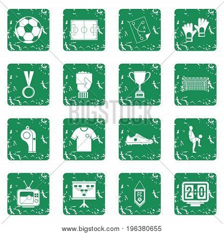Soccer football icons set in grunge style green isolated vector illustration
