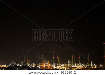 Chonburi Thailand Nov 30 2013 :View of Thai oil refinery industry in the twilight night petroleum industrial.