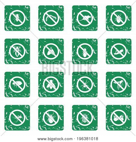 No insect sign icons set in grunge style green isolated vector illustration