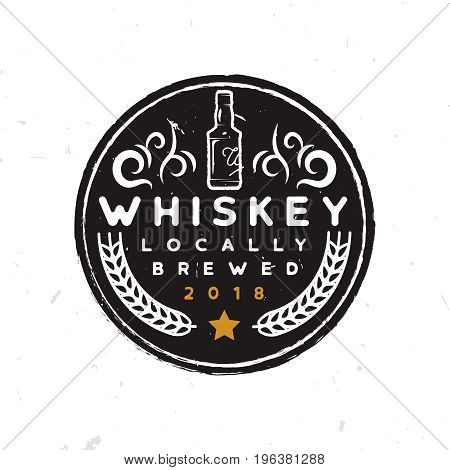 Round whiskey label with a whiskey bottle, ornament, wheat and star. Text written by my self-made Twinable font. Stock vector illustration