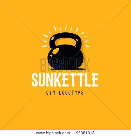 Gym logo concept. Kettlebell and text under it. Sun rays around the kettlebell. Yellow background. Vector stock