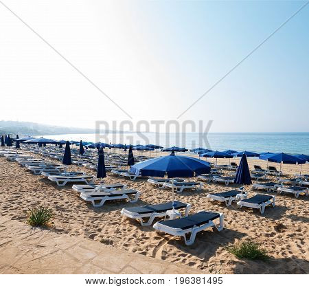 The beach in the morning at sunrise in Ayia Napa on the island of Cyprus