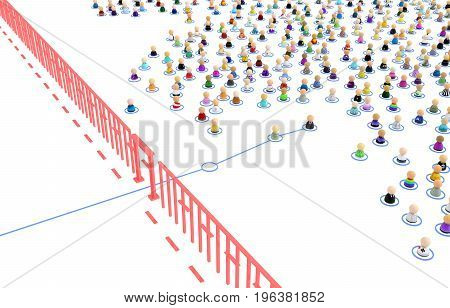 Crowd of small symbolic 3d figures linked by line border crossing isolated