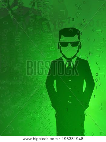 Virtual digits abstract 3d illustration shadow government agent figure vertical