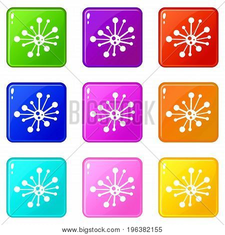 Round bacteria icons of 9 color set isolated vector illustration