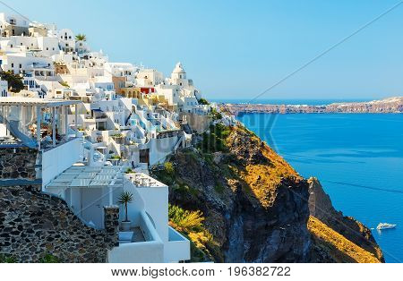 Fira capital of Santorini island and the view of volcanic caldera, Santorini
