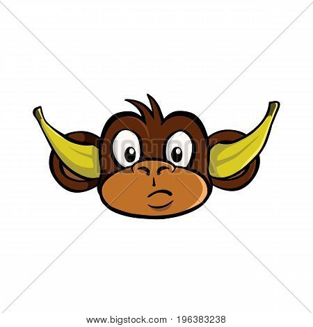 Hear no evil monkey with bananas in his ears