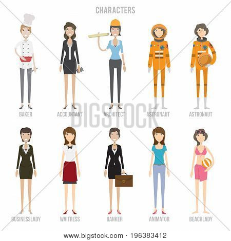 Characters Set | set of vector character illustration use for human, profession, business, marketing and much more.The set can be used for several purposes like: websites, print templates, presentation templates, and promotional materials.