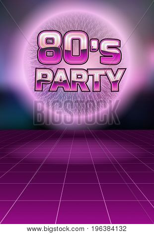 Party in the style of the eighties.Vector poster template.
