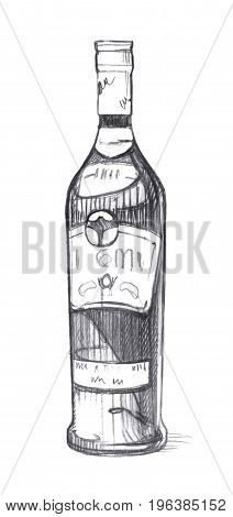 Bottle with alcoholic beverage. Graphic linear tonal drawing by slate pencil.  Isolated on white background