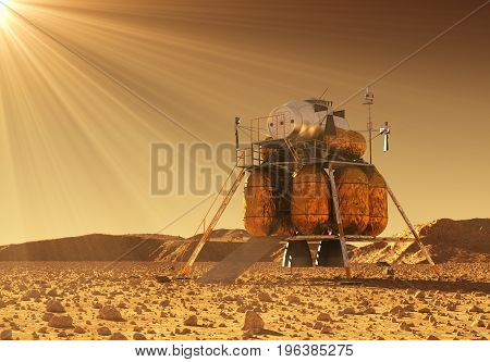 Descent Module Of Interplanetary Space Station In The Rays Of Martian Sun. 3D Illustration.