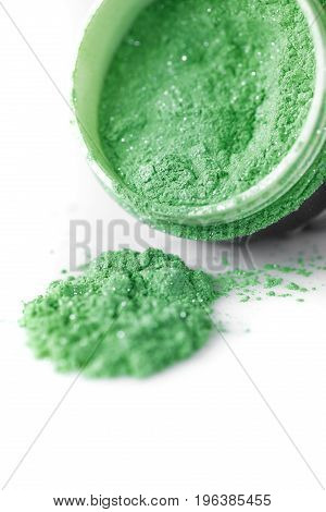 green professional powder eye-shadows on the white background
