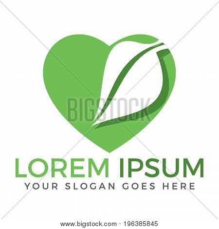 Green leaf heart shape ecology nature element vector icon.