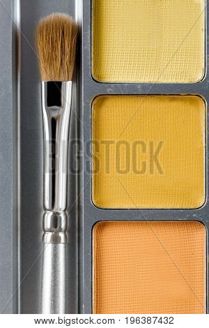 professional cosmetics. Palette of yellow eye shadow and the makeup brush, top view