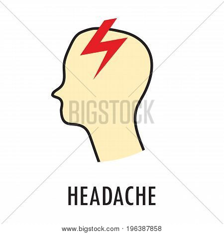 Headache. Logo or icon template in colored linear style isolated on white background. Eps10