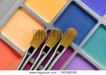 Palette of multicolored eye shadow and the makeup brush, top view