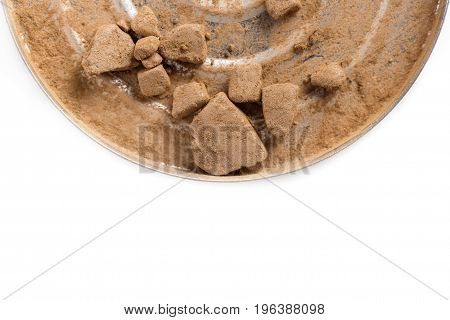 crushed bronzing powder for face isolated on the white background