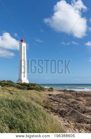 Armandeche lighthouse on the west coast of France in Les Sables d'Olonne