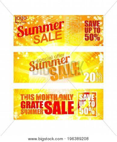 Summer sale banners set. Vector EPS 10