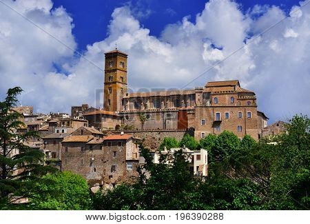 Medieval Saint Mary of Assumption Cathedral at the top of the ancient town of Sutri near Rome