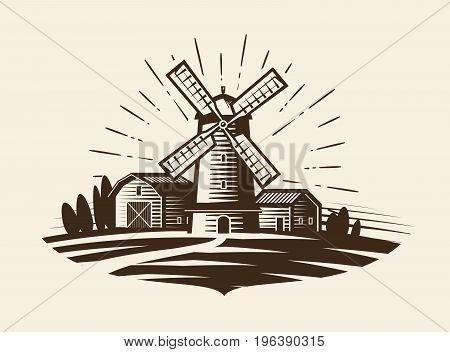 Farm, rural landscape logo or label. Agriculture, agribusiness, village, mill icon Vector illustration