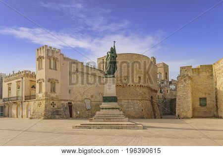The most beautiful old towns of Italy. Apulia: historical center of Otranto in Salento. Promenade of Heroes: medieval tower and monument erected for martyrs ( Monument erected to the Heroes and Martyrs of 1480).