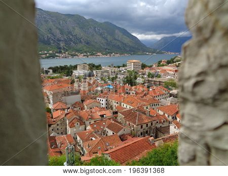 Stunning view of Kotor Old City and Kotor Bay seen from the Rampart, Kotor, Montenegro