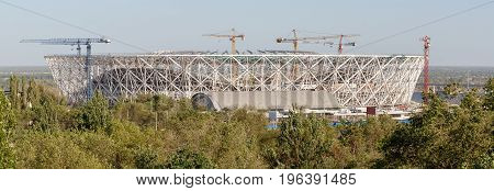 Volgograd, Russia - July 5, 2017. Panoramic view of the stadium in Volgograd under construction for the World Cup 2018.