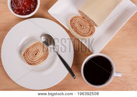 Swiss Roll (cake) With Red Berry Jam