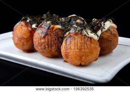 Takoyaki Or Japanese Octopus Ball.