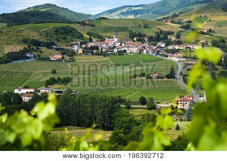 Letra village and vineyards of Beaujolais in France