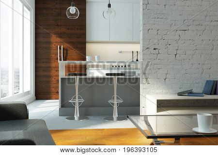 Bright studio flat with kitchen living room window with city view and sunlight. 3D Rendering