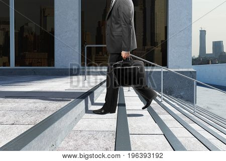 Side view of young businessman with briefcase climbing stairs in city. Success concept. 3D Rendering
