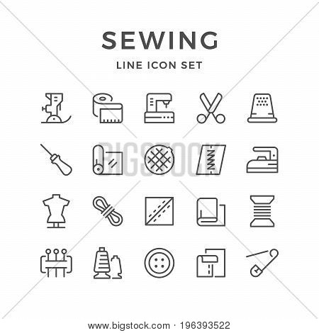 Set line icons of sewing isolated on white. Vector illustration