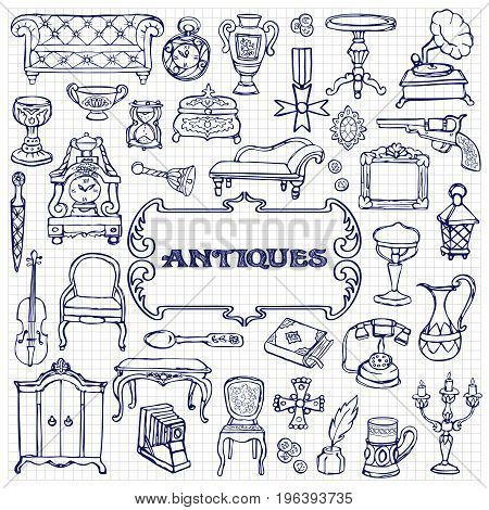 Antiques doodle hand drawn set with vintage sign. Pattern of retro objects, coloring page on squared background.
