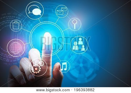 Hand pointing at abstract digital business chart. Technology innovation comunication and finance concept. 3D Rendering