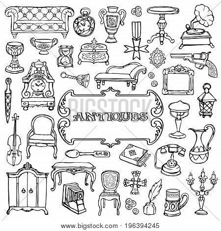 Antiques doodle hand drawn set with vintage sign. Pattern of retro objects, coloring page.