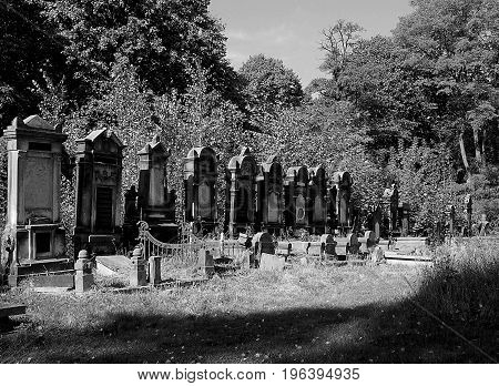 Jewish tombs. Lodz, Poland - October 05, 2014 Jewish tombs in the historic Jewish cemetery in Lodz.