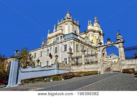 Architectural and cultural landmark - Building of St. George's Cathedral in Lviv Ukraine. Was built 1744-1762.