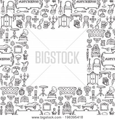 Antiques doodle hand drawn seamless frame with vintage sign. Wallpaper of retro objects on white background.