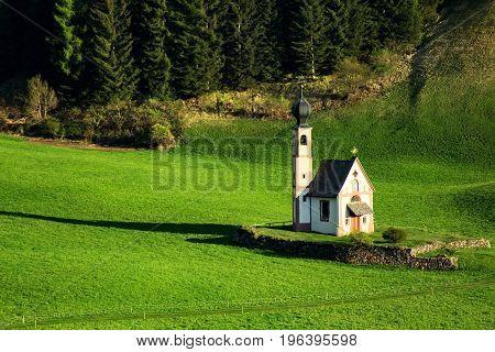 Chiesetta di San Giovanni in Ranui. Val di Funes Italy