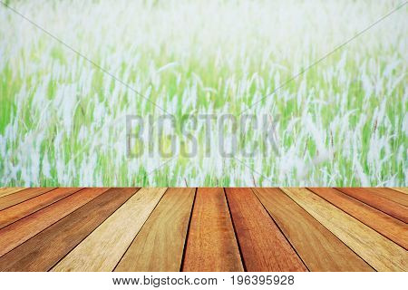 Wooden deck table over beautiful blurred grassland.